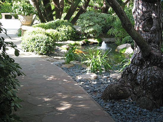 Walkway - Meditation gardens: Yogananda Self-Realization Fellowship,