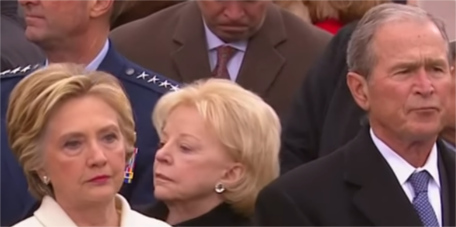 Hillary and W enjoying a moment together at Trump's inauguration Jan 20, 2017